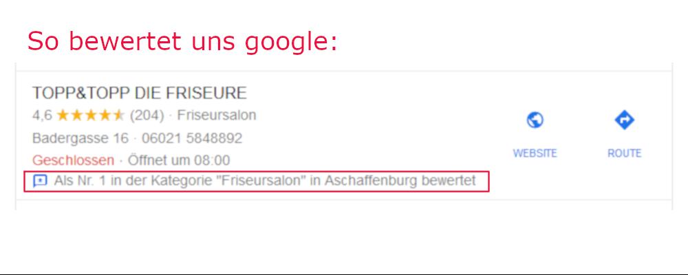 So bewertet uns google ...